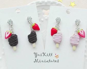 Eskimo Pie Earrings/ Ice Cream Earrings/ Soft Pink Chocolate Eskimo Pie Jewelry/ Food Earrings