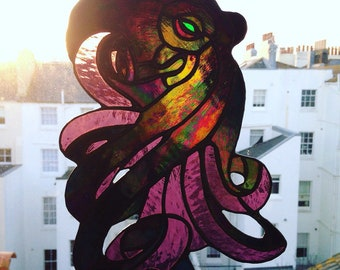 Iridescent Stained Glass Octopus