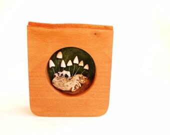 Diorama - Nature Assemblage -  Nature Art - Shadow Box Frame - Nature Diorama - Deer - Fungi
