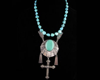 Gothic necklace - Turquoise beads - cross pendant - sterling clasp  - huge rosary cross - statement piece - sacred heart -ooak original