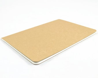 KRAFT BLANK SKETCHBOOK - a4 24 Page Kraft Stitched Sketchbook with Blank Off-White Pages and Back Flap Pocket (29.7cm x 21cm)