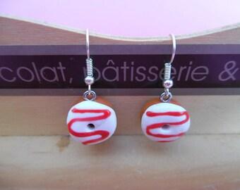 White donuts polymer pierced earrings