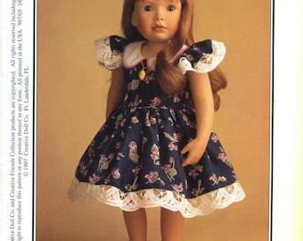 """CREATIVE FRIENDS 18"""" Doll Dress Pattern  ©1997 """"Spring Flowers"""" For ASHLEY Doll and Others"""