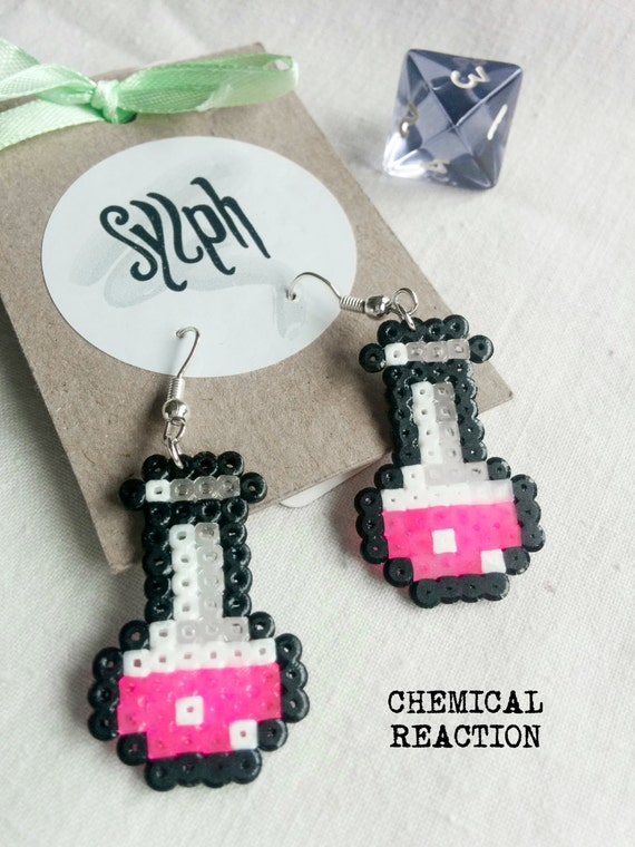 Neon pink pixelart Chemical Reaction potion earrings for a biologist, chemist or a labrat in retro style