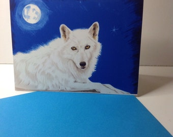 Wolf Card, White Wild Wolf Card, She Wolf Greeting,Wildlife Greeting Card, Conservation card