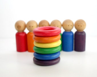 Rings and Peg People Matching Set - Classic Rainbow