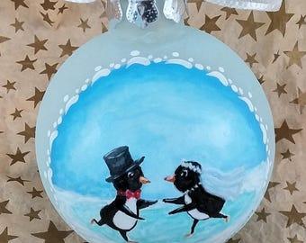 Mr. & Mrs. Penguin Ornament, Penguin Wedding Ornament, Penguin Couple, 1st Christmas Ornament, Couple Christmas Gift, Penguin Wedding Gift