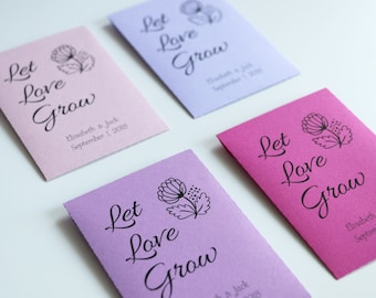 Let Love Grow Seed Envelopes, Wedding Favors, Personalized Envelopes
