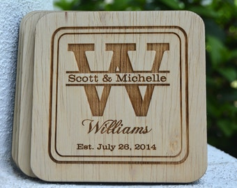 Wedding Favors, Personalized Coasters, Rustic Wedding, Monogrammed Groomsmen Gifts, Country Charm