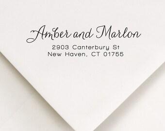 Self Ink Address Stamp - Return Address Stamp - Script Address Stamp - Custom Address Stamp - Wedding Invitations - Amber and Marlon (211)
