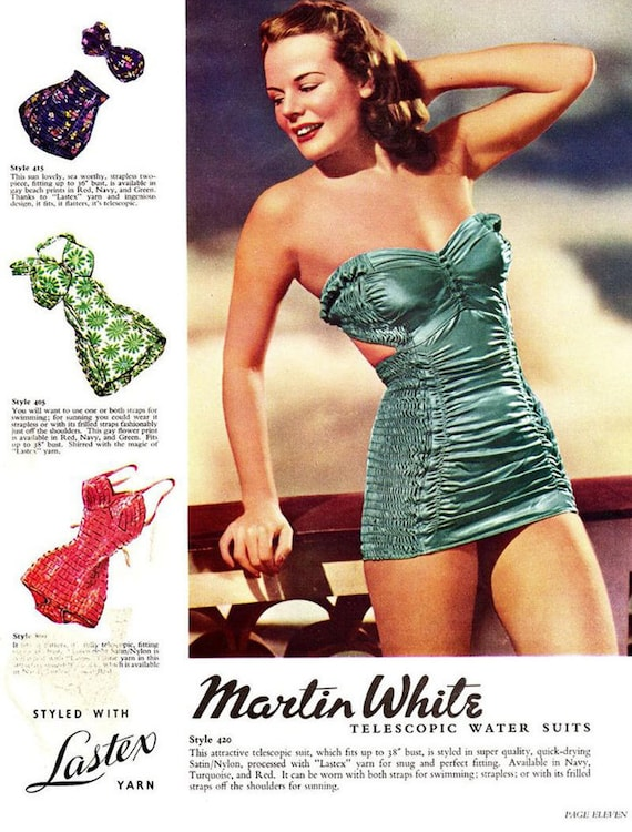 'MARTIN Telescopic 40's XS WHITE' Smocked Swimsuit M S Vintage Red Cherry g56Htq5xw