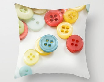 Button Photo Pillow Cover, Sewing Room Home Decor, White Throw Cushion, Craft Room Accent, Gift for Seamstress, Dressmaker, Red, Handmade