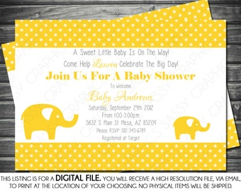 Gender Neutral Baby Shower Invitation - Elephant Theme, Yellow, Polka Dots, Printable, Digital