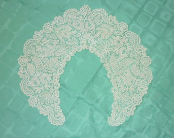 "1 Antique Brussels Duchesse Point De Gaze Lace BERTHA Collar..Lace 6.25"" Wide by 74"" Perfect Bobbin Lace 1880 era"