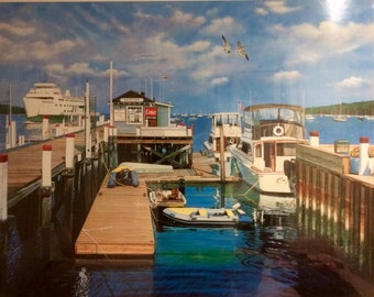 "Ken Keeley Large Serigraph Pencil Signed and Numbered ""Bayles Dock"""