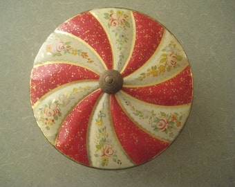 Vintage Tin, Lidded Tin, Red Tin with Flowers and Swirls, British Sweets Tin, Toffee Tin, Horner's Confectionery, Tin with Feet, Candy Tin