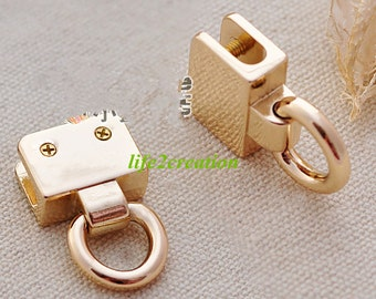 Leather Clip with D Rings,Handbag Connector,Leather Clip,Chain Connector, Webbing Clip,Screw D-Ring,Metal Handle Inner 20mm 2pc 10308-078
