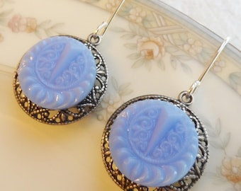 Vintage Glass Button Earrings, Periwinkle Blue, Ornate Design, Antique Silver Ox