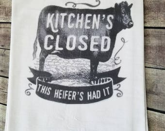 This heifers had it flour sack tea towel