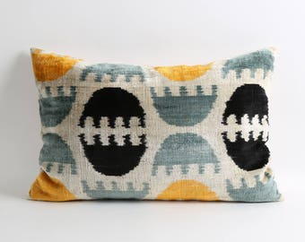 Silk velvet ikat pillow cover 16x24 lumbar velvet ikat pillow modern boho home decor