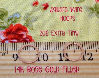 Rose Gold Filled Square Wire Extra Tiny Endless Hoops