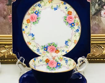 Aynsley teacup and saucer with dessert plate trio. Circa 1934-1950.