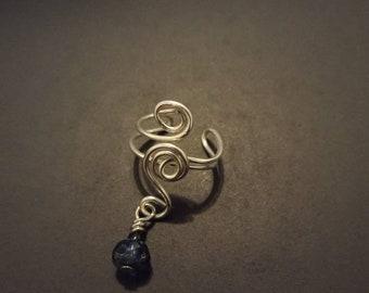 Earcuff - blue bead on silver wire