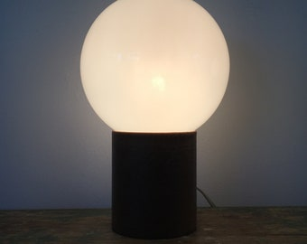Mid Century Modern Leather Globe Table Lamp