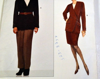 Vintage 1990's Anne Klein Misses' Jacket, Skirt, and Pants Sewing Pattern Vogue 1228   Size 6-8-10 Bust 30 - 32 inches Uncut Complete