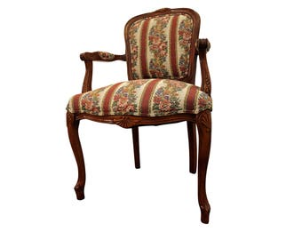 French Country Ladies Fauteuil Carved Upholstered Open Arm Chair