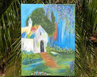 Shabby Chic, Hand painted, Handpainted, Vintage Church, Rustic, Wisteria, Vivid Colors, Acrylic