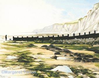 Low Tide at Holywell, Eastbourne, print mounted and signed by artist