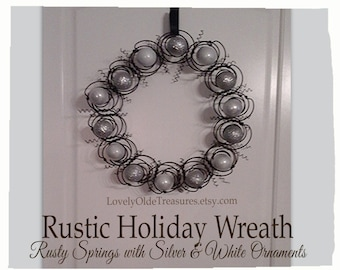 Handmade Wreath- Silver White Decor- Neutral/Simple Home Decor Idea- Bed Spring Wreath- Farmhouse Decor- Rustic Charm- Primitive Home Decor