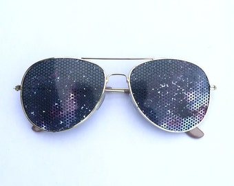 Cosmic Space Galaxy II Graphic Nebula Party Sunglasses, Aviator Shades
