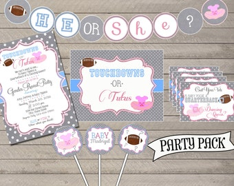 Gender Reveal Party Pack; Touchdowns or Tutus