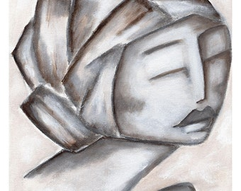 Decorative Art Print// Prints for Women// Whimsical Art Print// Rustic Art Print// Wall Art// Girl with Closed Eyes// Shabby Chic Decor