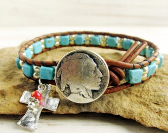 Native American Indian Head Nickel Button Leather Wrap Bracelet with Cross, Turquoise Beaded Bracelet For Her For Him, Buffalo Nickel