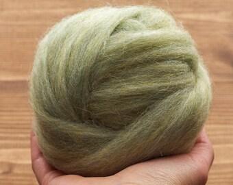 Wool Roving Supply for Needle Felting, Sage Green, Spring Green, Wet Felting, Spinning, Dyed Felting Wool, Light Green, Fiber Art Supplies