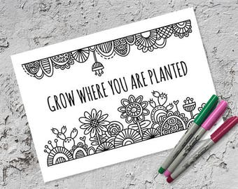 Grow Where You Are Planted Colouring Page | Instant Digital Download | Original Doodle Design