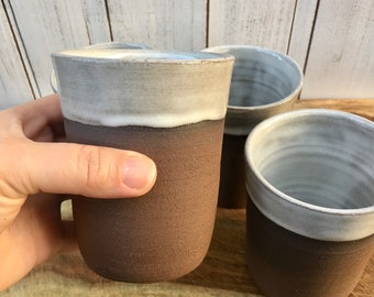 Handmade Ceramic Cup, Pottery Tumblers, Juice Cup, Ceramic Barware, Handless Mug, Tumblers in Rustic White and Dark Brown Clay