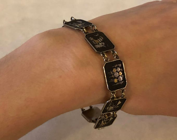 Vintage 1940s Oriental Art Deco Style Black and Gold Japanese Niello Inlay Bracelet