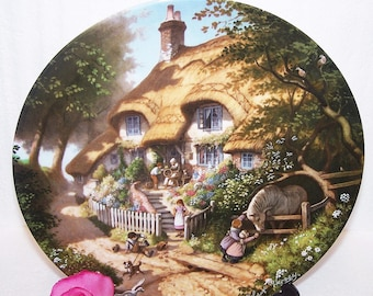 Coalport Plate - Granny's Cottage - By Robert Hersey - Tale of a Country Village - Decorative Coalport Bone  China Plate