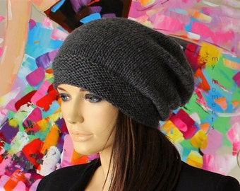 CAP slouch Merino anthracite Knit Hat