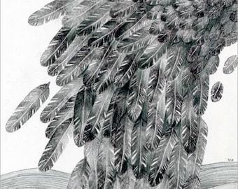 Original mixed media drawing - Black Feathers