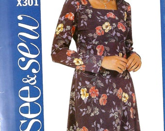Easy See & Sew X301 Misses/Miss Petite Raised Waist A-line Dress Pattern, Size 20-24, UNCUT