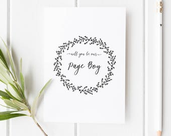 Will you be our Page Boy Card // Wedding Role Proposal Card // Wedding Duty Request // Hand Drawn Wreath // Rustic  // Boho wedding
