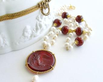 Red Venetian Intaglio Cameo Angel Pearls Ruby Quartz - Vittoria Necklace