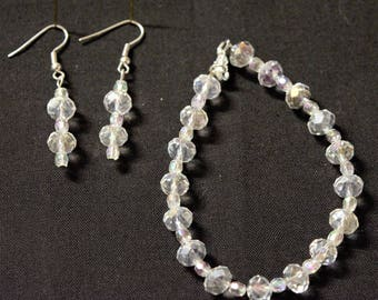 Clear Multifaceted Bracelet and Earring Set