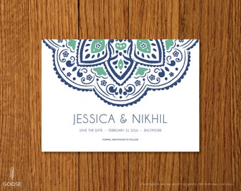 Indigo | Printable Save the Date Template | Instant Download