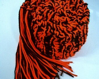 Hand Knit College Scarf Oklahoma Oregon  - Orange and Black